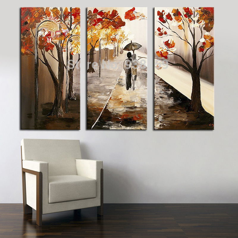 100 handmade canvas wall paintings Lover Walking landscape Painting 3 panel canvas art home decoration canvas