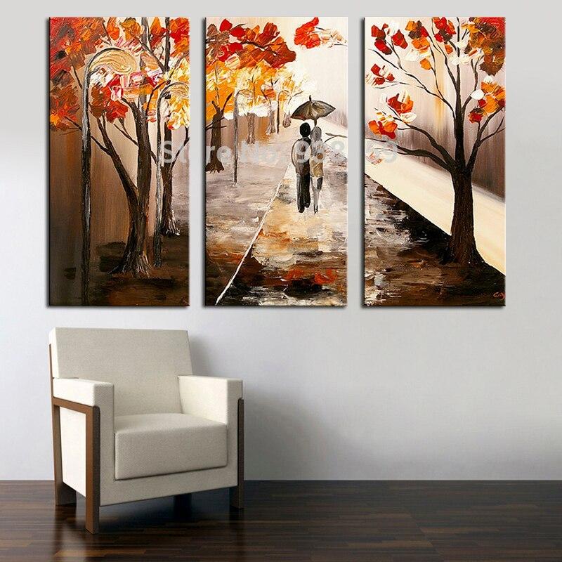 Ev ve Bahçe'ten Resim ve Hat'de 100% el yapımı tuval duvar resimleri Sevgilisi Yürüyüş manzara Boyama 3 panel tuval sanat ev dekorasyon tuval boyama'da  Grup 1