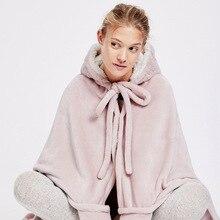 Sevimli pembe rahat battaniye kazak kış sıcak yetişkinler ve çocuklar tavşan kulak kapşonlu polar battaniye pijama büyük yatak battaniye