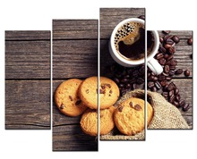 4 Picture Coffee and Cookies Canvas Prints Modern Wall Art Paintings Unframed for Room and Kitchen Decoration Paintings Pictures coffee printed unframed split wall art canvas paintings