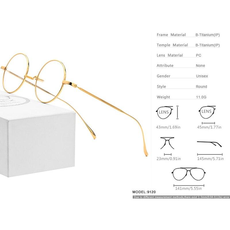 Image 4 - B Titanium Glasses Frame Men Ultralight Small Round Myopia Optical Prescription Eyeglasses Frames Women Vintage Eyewear 9120-in Men's Eyewear Frames from Apparel Accessories