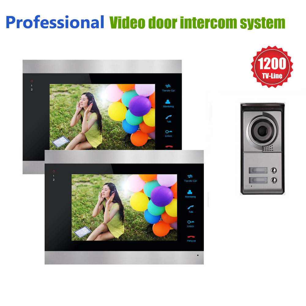 Homefong 2 Apartments 7 Color Video Door Phone intercom System Video intercom 2 monitor  1 doorbell Outdoor  with 2 Call Button 2 receivers 60 buzzers wireless restaurant buzzer caller table call calling button waiter pager system