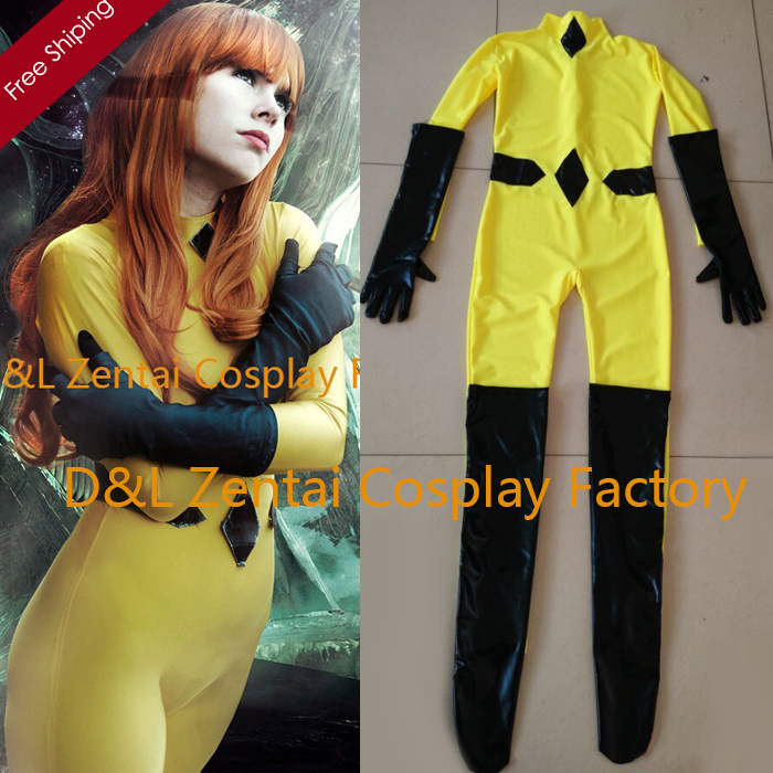 Free Shipping DHL Real Yellow Crystal Inhumans Marvel Comics Spandex Superhero Zentai Catsuit Cosplay Halloween Costume SHP341