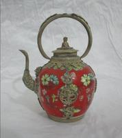 christmas decorations for home+ Collectibles Decorated tibet silver red Porcelain Lion lid big Teapot free SHIPPING