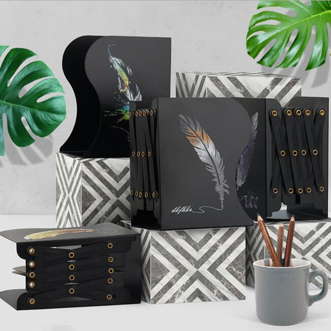 1 Piece Feathers Metal Retractable Desk Book Bookends Students Desk Organizer Holder Office School Home Book Shelf Stationery