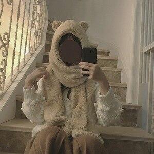 Image 5 - Foulard réchauffant pour femmes, joli ours oreilles, chapeau, peluche, écharpe à capuche, nouvelle mode, bonnet, joli cadeau pour filles