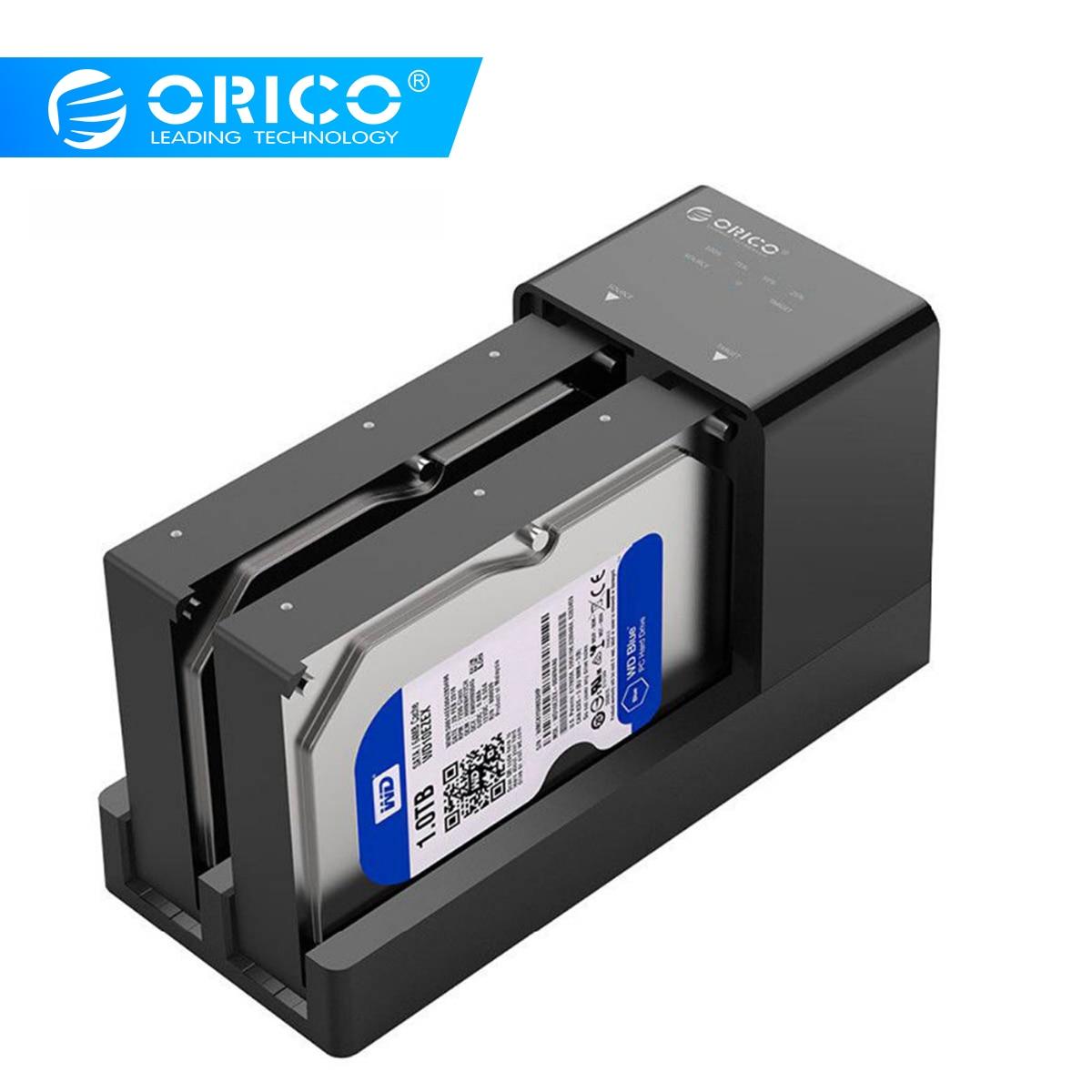 ORICO 2.5 3.5 SATA Hdd Estação de Ancoragem Clone Desligada Super Speed USB 3.0 Hard Drive Suporte 10TB 2 bay preto 6528US3-C