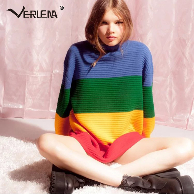 9f95a5c2f41 Verlena 2018 Chunky Flat Knit Jumper in Rainbow Block Stripe Autumn  Oversized Sweater Women Pullovers High Neck Knitted Sweaters