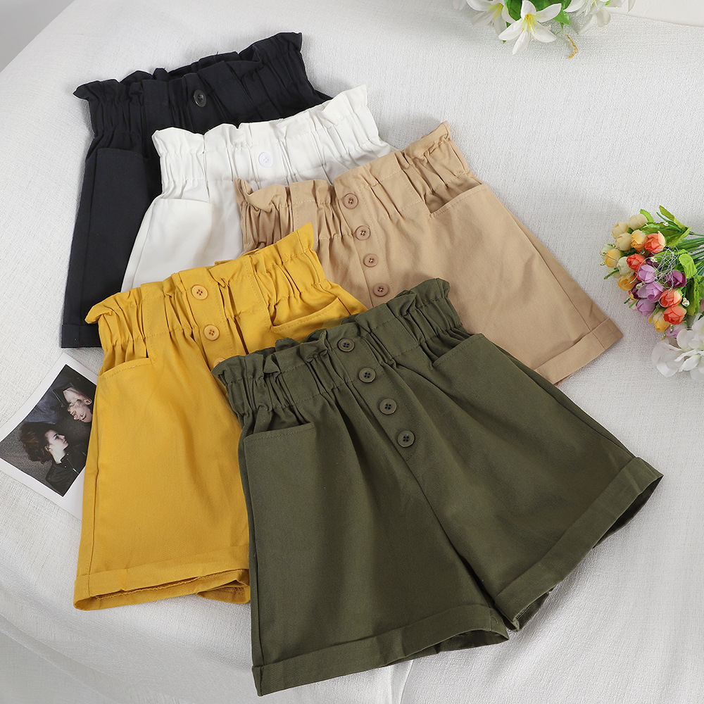 Preppy Style Summer Bud Solid Shorts Female 2019 Slim Loose Elastic High-waist Cotton Shorts For Women Black Sexy Shorts Women