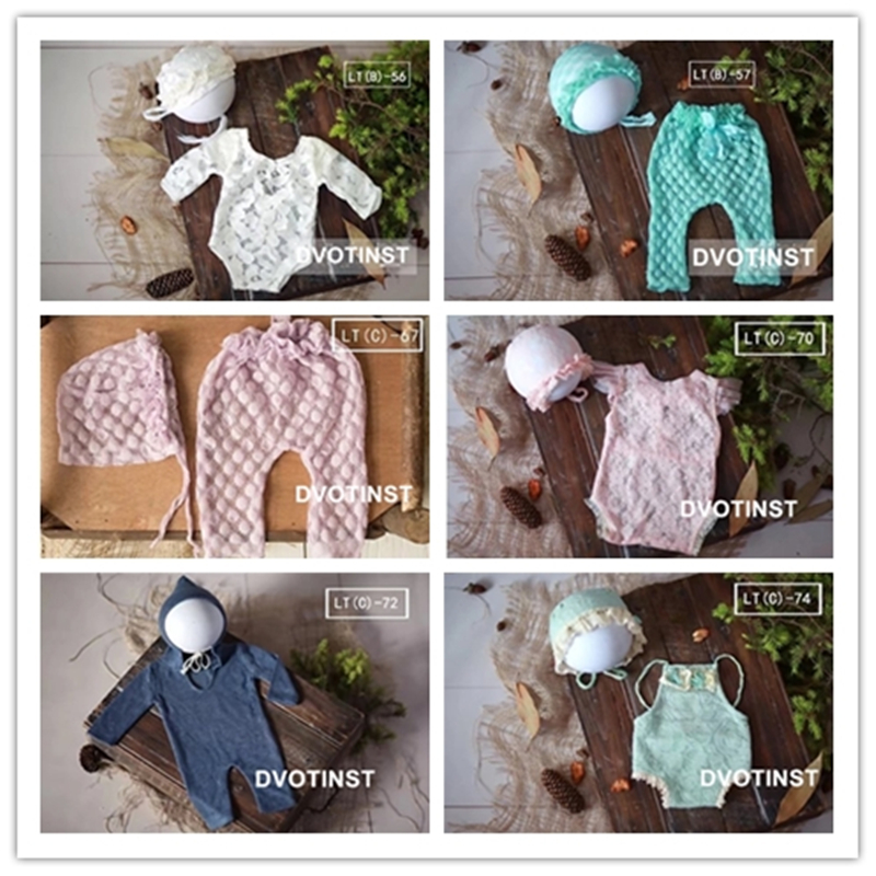 Dvotinst Newborn Photography Props for Baby Crochet Knitted Outfit Jumpsuit Pillow Clothes Fotografia Costume Studio Accessories