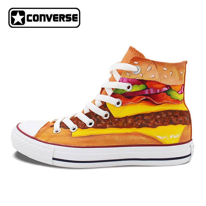Unique Hand Painted Shoes Converse Chuck Taylor Hamburger High Top Canvas Sneakers Unique Christmas Gifts Men Women светильник на штанге eglo palmera 87222