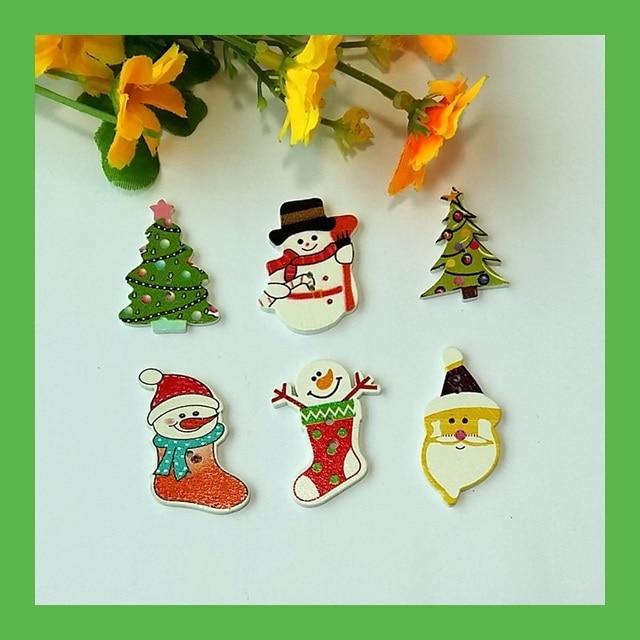 6 assorted 100pcs white flatback wooden bulk christmas buttons mixed hand made craft scrapbooking accessories sewing - Christmas Buttons