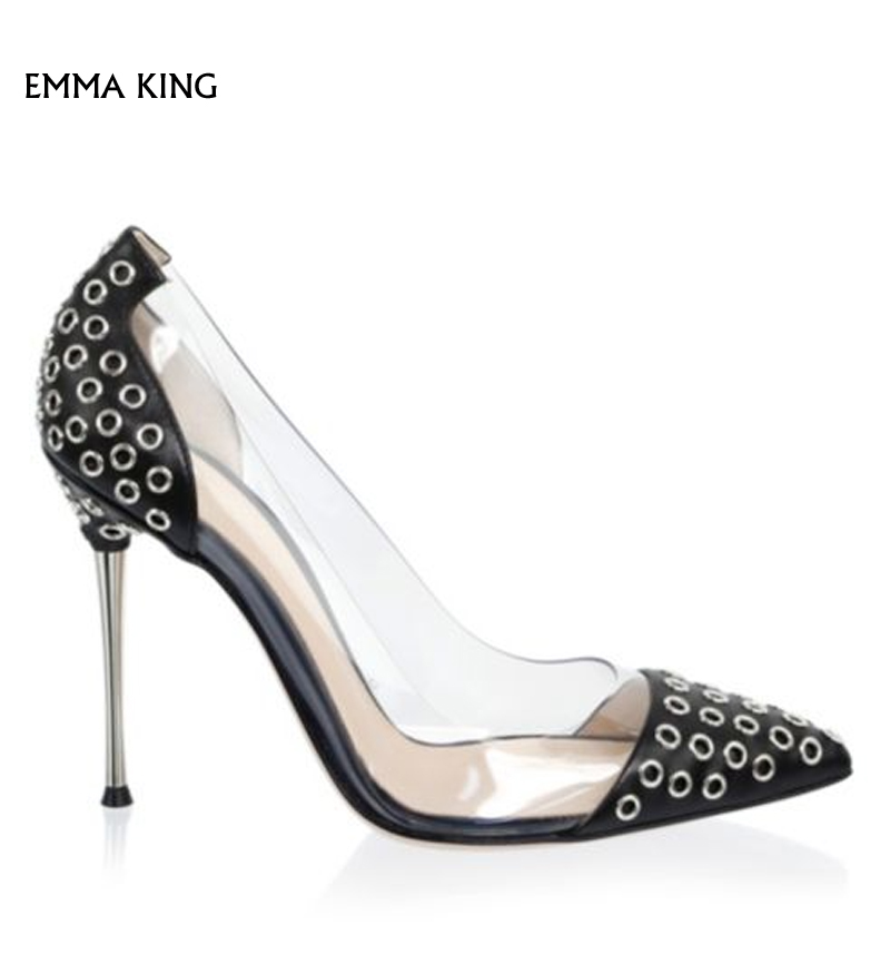 Pvc Aguja Pic Mujer Sapato Nailhead Slip Tacón Femenino Bombas Zapatos estilo As Ojales Parte Y Plus De Tacones Fiesta Superior Tamaño Punta xpYFfFqzA