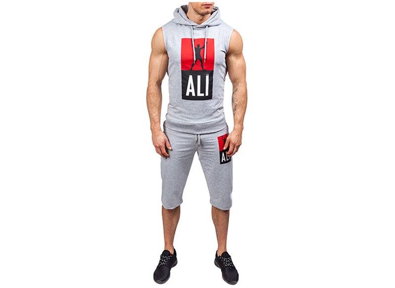 8821ee6f1 2019 nuevo conjunto de verano para hombre 2 piezas traje deportivo Camiseta  de manga corta + ...
