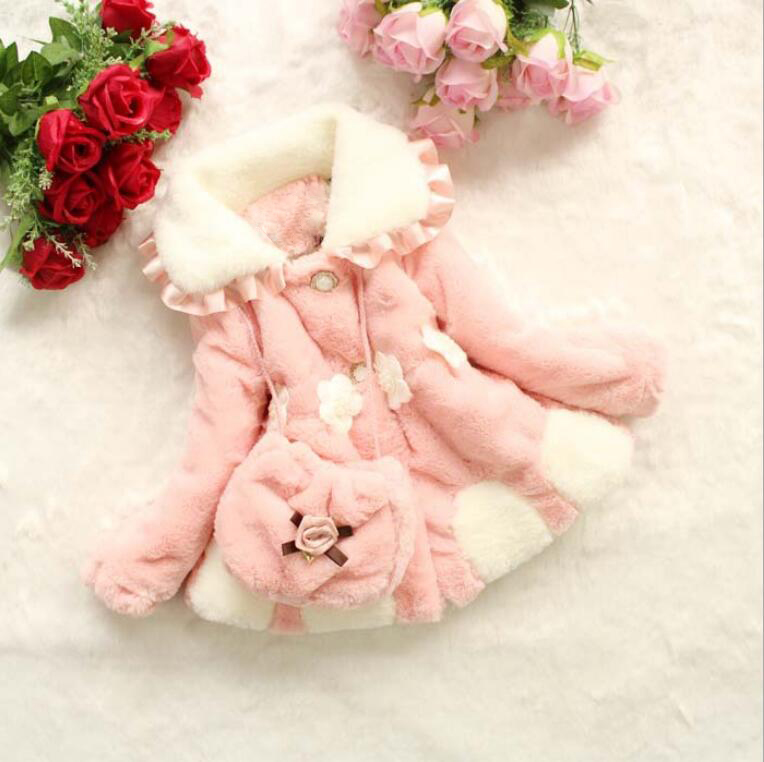 Wnter New Girls Coat Fake Fur Vetement Enfant Fille Coral Cashmere Downy Childrens Coat Jacket Thicker Cotton Clothing