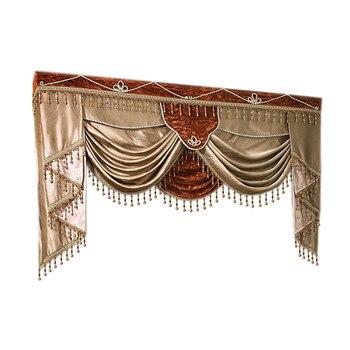 Cenefa de decoración europea de lujo, elegante cortina bordada y lata de cenefa