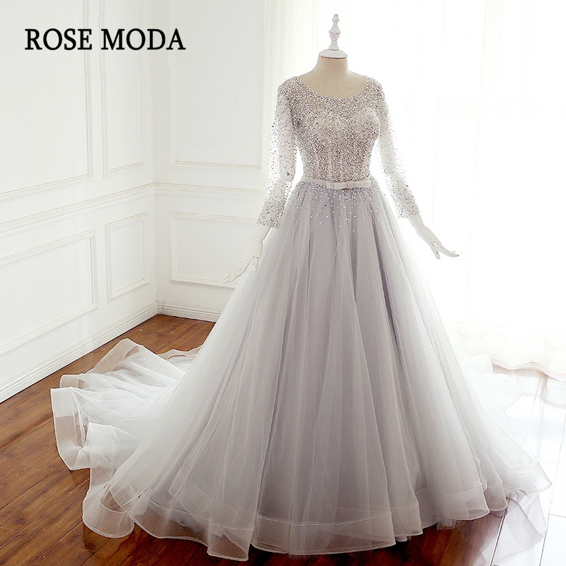 Rose Moda Luxury Crystal Beaded Wedding Dress with 3/4 Sleeves Silver Grey Wedding Ball Gown Lace Up Back Wedding Dresses 2018