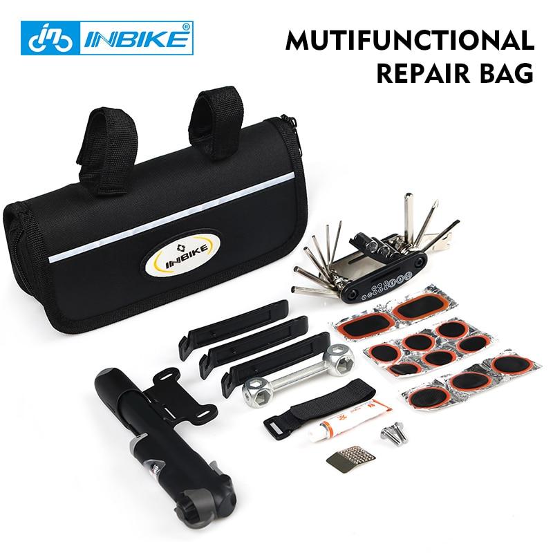 INBIKE 1 Set MTB Road Portable Bike Repair Tool Bag Bicycle Cycling Multifunctional Tire Repair Kit Tool ferramentas Sets Bag