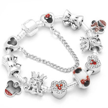Boosbiy Dropshipping Cute Mickey Minnie Charm Bracelet For Women Kids With Silver Snake Chain Brand Bracelet Christmas Jewelry