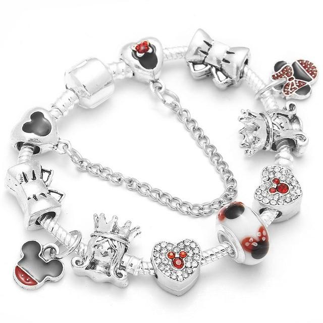 Boosbiy Dropshipping Silver Snake Chain Charm Bracelet Kids Cute Mickey Minnie Pandora Bracelet  Women Christmas Jewelry