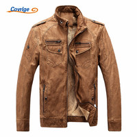 Covrlge Male Leather Jacket Fashion 2017 Mens Motorcycle Jacket Winter Men's Coat Casual Overcoat Faux Leather Suede MWP003