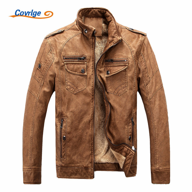 Covrlge Male Leather Jacket Fashion 2019 Mens Motorcycle Jacket Winter Men's Coat Casual Overcoat Faux Leather Suede MWP003