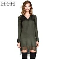 HYH HAOYIHUI Sexy Lace Trim Shirt Dress Women Army Green Patchwork V Neck Shift Dress Vestidos