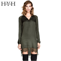HYH HAOYIHUI Sexy Lace Trim Shirt Dress Women Army Green Patchwork V Neck Shift Dress Vestidos