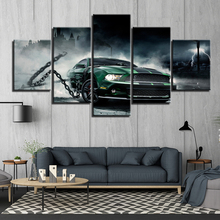 HD Printed 5 panels Mustang sports car Paintings Canvas Wall Art Pieces automobile posters Framework up-333