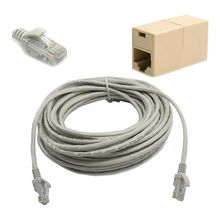 15M 50FT RJ45 CAT5 CAT5E Ethernet LAN Network Cable + Plug Connector Adapter