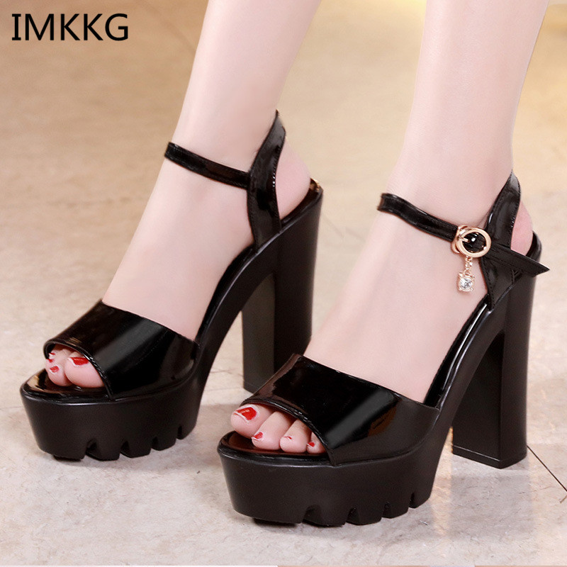 bd76fd9f22e8 Summer High Heel Sandals Shoes Women 2018 New Arrival Thick Heels Sandals  Platform Casual Russian Shoes Big Size 42 43 m153-in High Heels from Shoes  on ...