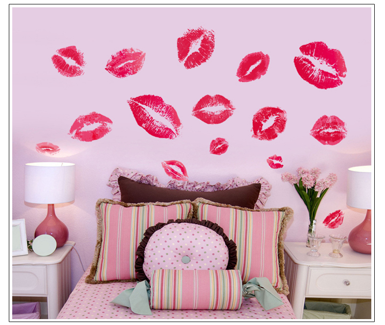 ^ Hot sale kisses wall sticker lip print wall sticker decorative removable vinyl wall stickers mural art poster home decor