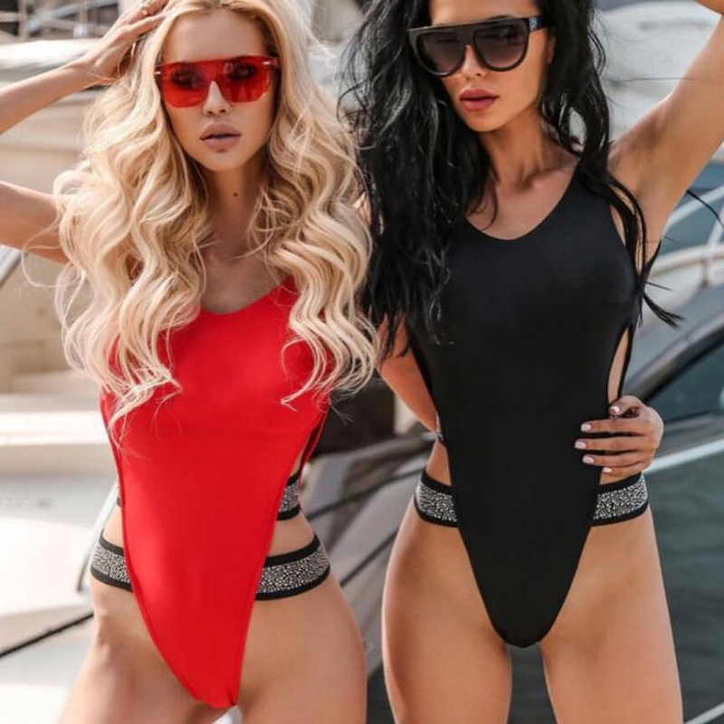 Sexy Leopard Red Black One Piece Swimsuit 14