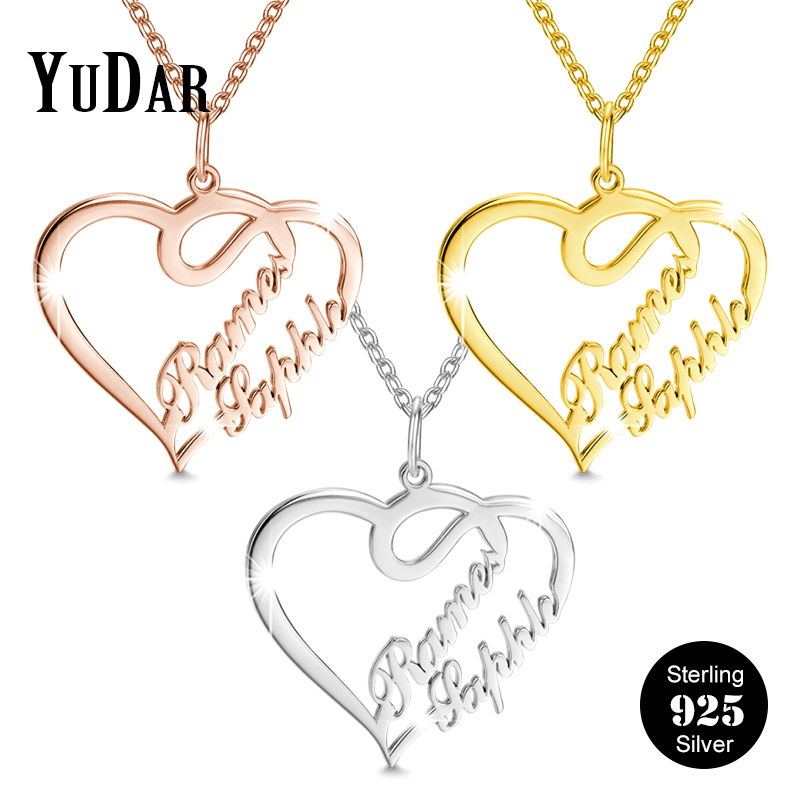 Ladies 925 Silver Personalised Engraved Heart Charm Necklace Valentines Day Gift