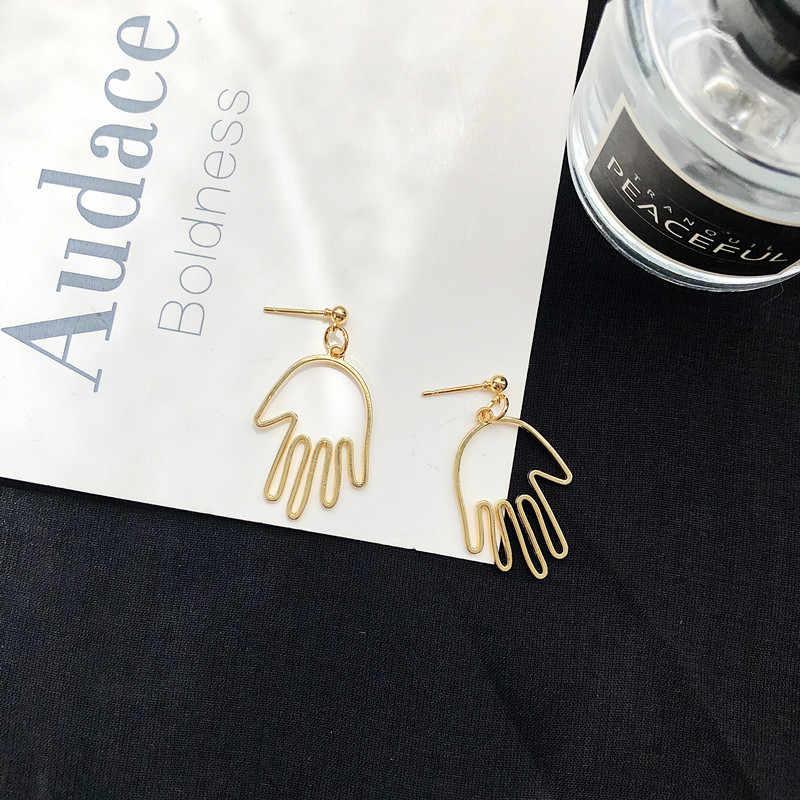 Множественный выбор лицо Серьги Ретро металла абстрактные выдалбливают Длинные висячие серьги в Корейском стиле падение серьги ювелирные украшения oorbellen aretes