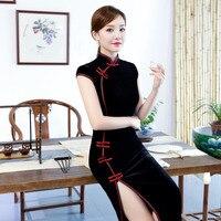 Wholesale 2019 new sexy black China dress sleeveless long qipao dresses chinese traditional dress classic cheongsam size M 3XL