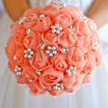 Free shipping coral White Rose bridal brooch bouquet Wedding Bride 's  Jewelry Pearl Rhinestone  Bouquets Holding flowers