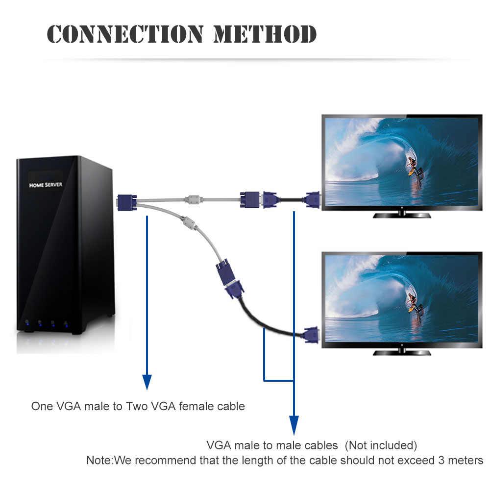 15 pin 1 pc to 2 monitor dual video way vga svga extension monitor vga splitter  [ 1000 x 1000 Pixel ]