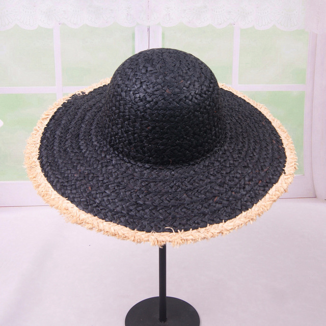 deb8e2d73 Large Black Straw Hat With Flower   Gardening: Flower and Vegetables