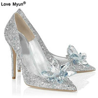2019 Fashion Sexy Women Silver Rhinestone Wedding Shoes Platform Pumps Crystal High Heels Shoes For Evening Party 568