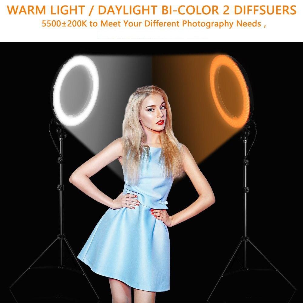 Travor RL-18 Dimmable photographie anneau lumière avec sac de transport 240 pcs led perles à l'intérieur 55 w éclairage annulaire lampe pour le maquillage et lumière trépied - 2