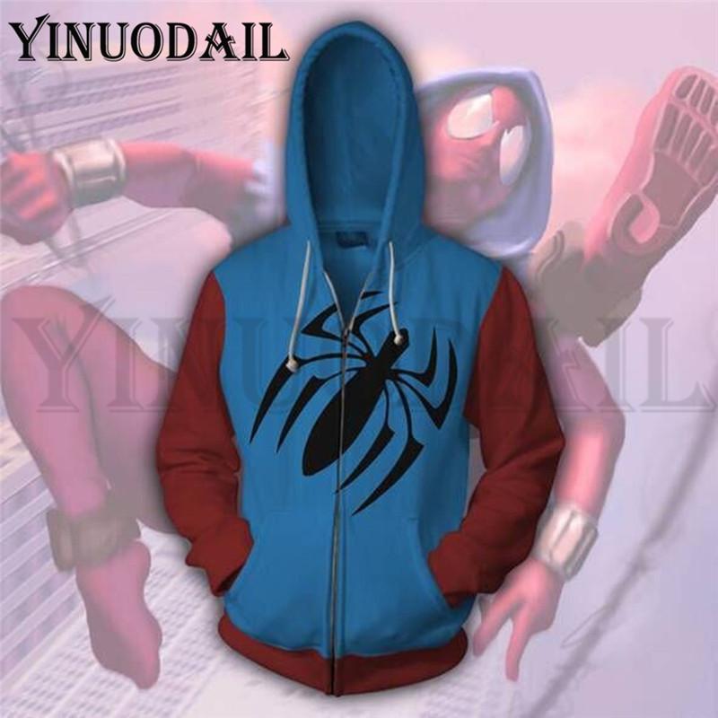 Avengers Spiderman Autumn New Casual Sweatshirt Superhero Print Hooded 3d Hoodies Harajuku Mens
