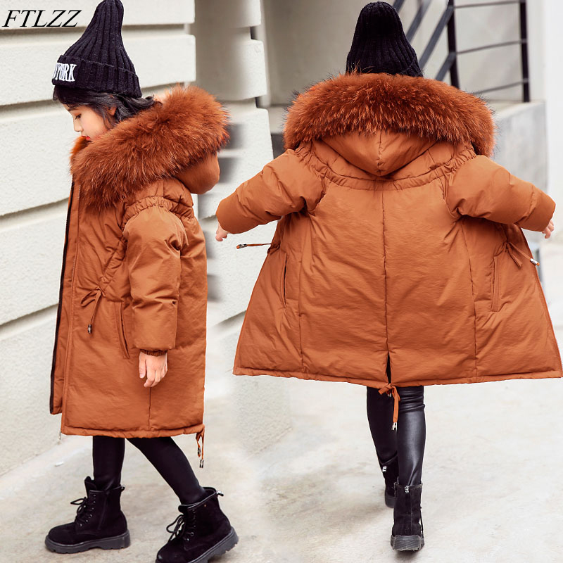 FTLZZ Girls Large Raccoon Fur Duck Down Long Jackets 2018 Winter Thicken Hooded Big Girl Down Parkas Kids Coat Outerwear 2016 winter jacket women down jackets thicken loose medium long parka raccoon fur hooded down coat women s duck down outerwear