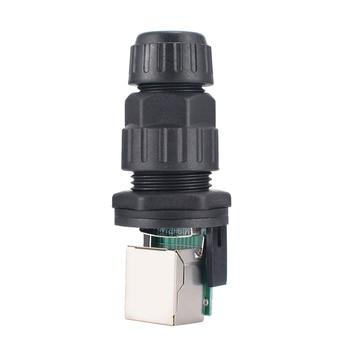 1 unid RJ45 interfaz IP68 red conector impermeable Durable enchufable Transposon conectores 10mm agujero 8 Core para al aire libre AP caja