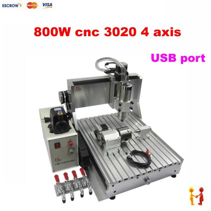 Port USB 4 axes CNC routeur 3020 800 W CNC fraiseuse avec fin de course pour bois métal aluminium PCB pierre
