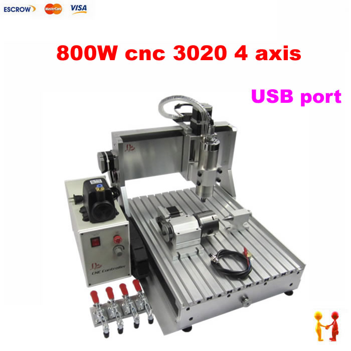 USB port 4axis cnc router 3020 800W cnc milling machine with limit switch for Wood metal aluminum PCB stone 110 220v 1500w 4 axis metal milling machine cnc 6040 with limit switch for metal wood cutting