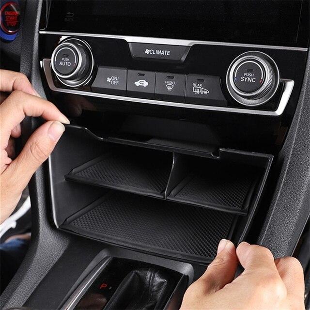 ABS Автомобильная консоль ящик для хранения многоуровневый встроенный нескользящий коврик для Honda 10th Civic 2019 2018 2017 2016 аксессуары для интерьера