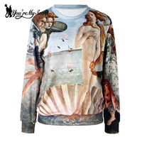Women The Birth Of Venus Digital Print Sweatshirt Long Sleeve Galaxy Space Crew Neck Black Milk