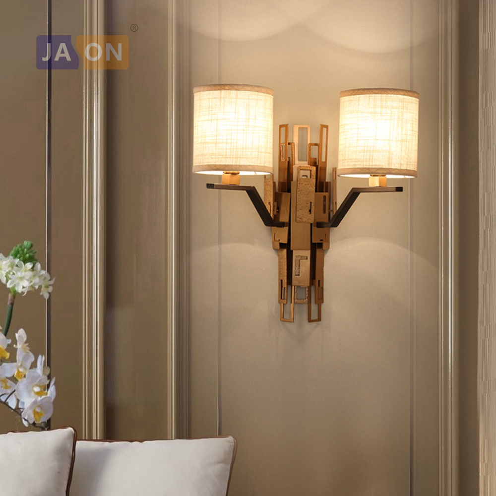 led e27 American Postmodern Iron Fabric LED Lamp LED Light Wall lamp Wall Light Wall Sco ...