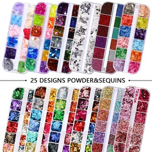 12 Grids/Set Combined Glitter Holographic Sequins Sugar Marble Powder Dried Flower Mylar Foil Shell Nail Art Decoration DIY CT#(China)